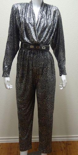 1c22a8226ad6 80s VTG Belted Silver Lame  Jumpsuit M Leopard Dress 6 Clubwear Cocktail  Romper