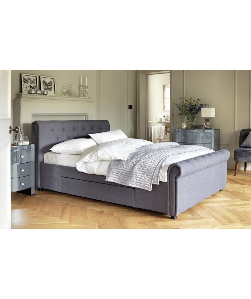 new style b4896 c6266 Home Newbury 2 Drawer Kingsize Bed Frame - Grey | Bedroom in ...