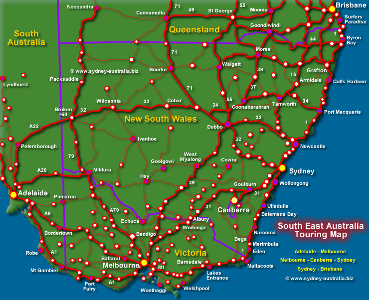 Map of the New South Wales and Major Routes - Click to see ...