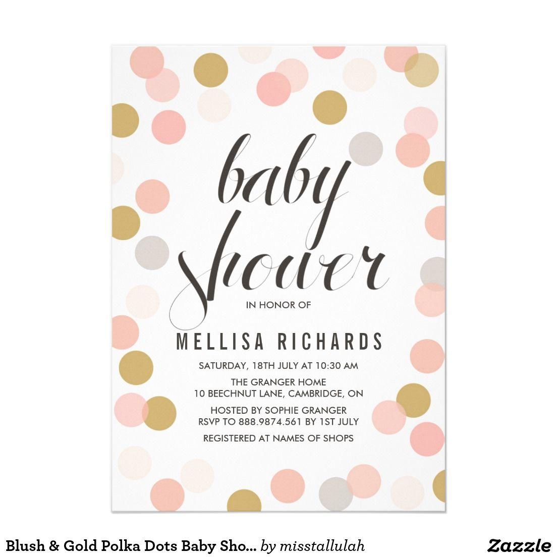 Blush & Gold Polka Dots Baby Shower Invitation | Shower invitations