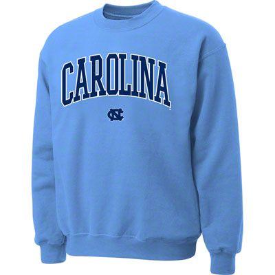 North Carolina Tar Heels Light Blue Twill Arch Crewneck Sweatshirt Sweatshirts College Sweatshirt Outfit Hoodless Sweatshirts