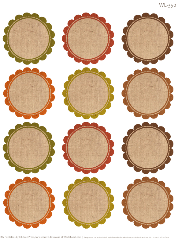 Round labels with an autumn feel free printables by erin rippy ink tree press