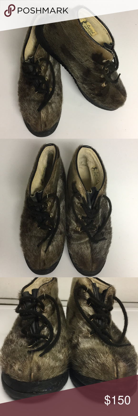 Vintage Capitol Brand Fur Ankle Boots Canada 9 5 Fur Ankle Boots Boots Fur Boots
