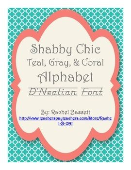 These cute alphabet wall posters will be perfect in any Shabby Chic classroom!Each full page card features an uppercase and lowercase letter in the D'Nealian Font. This pack contains all letters Aa-Zz. Print these on card stock and hang for a great resource for your students or use them creatively in your literacy centers!