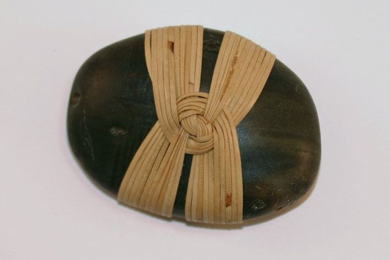 Rattan Wrapped Rock With Japanese Kunoji Knot By Shizu