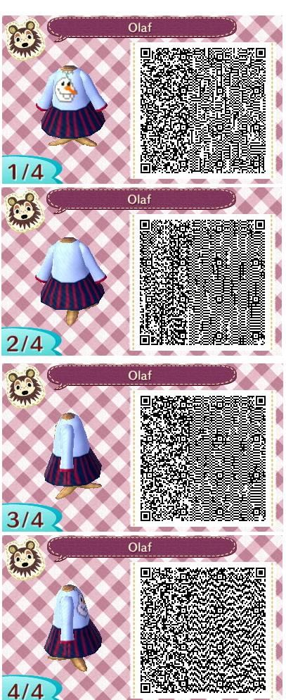 Olaf from frozen inspired dress for animal crossing qr code
