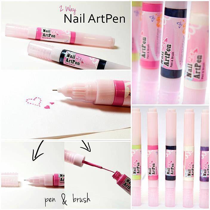 Two Way nail art pens - black, white, violet, green and pink. Dotting tool and long thin brush.