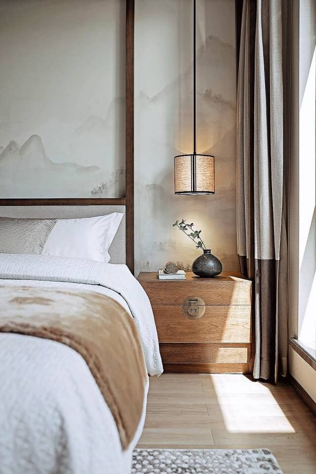 Japandi Asian bedroom decor, Japanese interior design