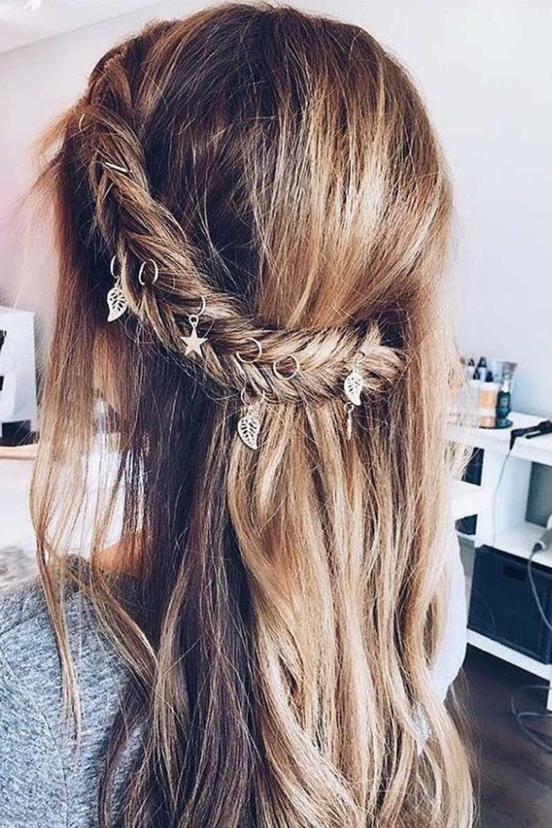 Monday hair inspo add some charms or hair rings to your fishtail