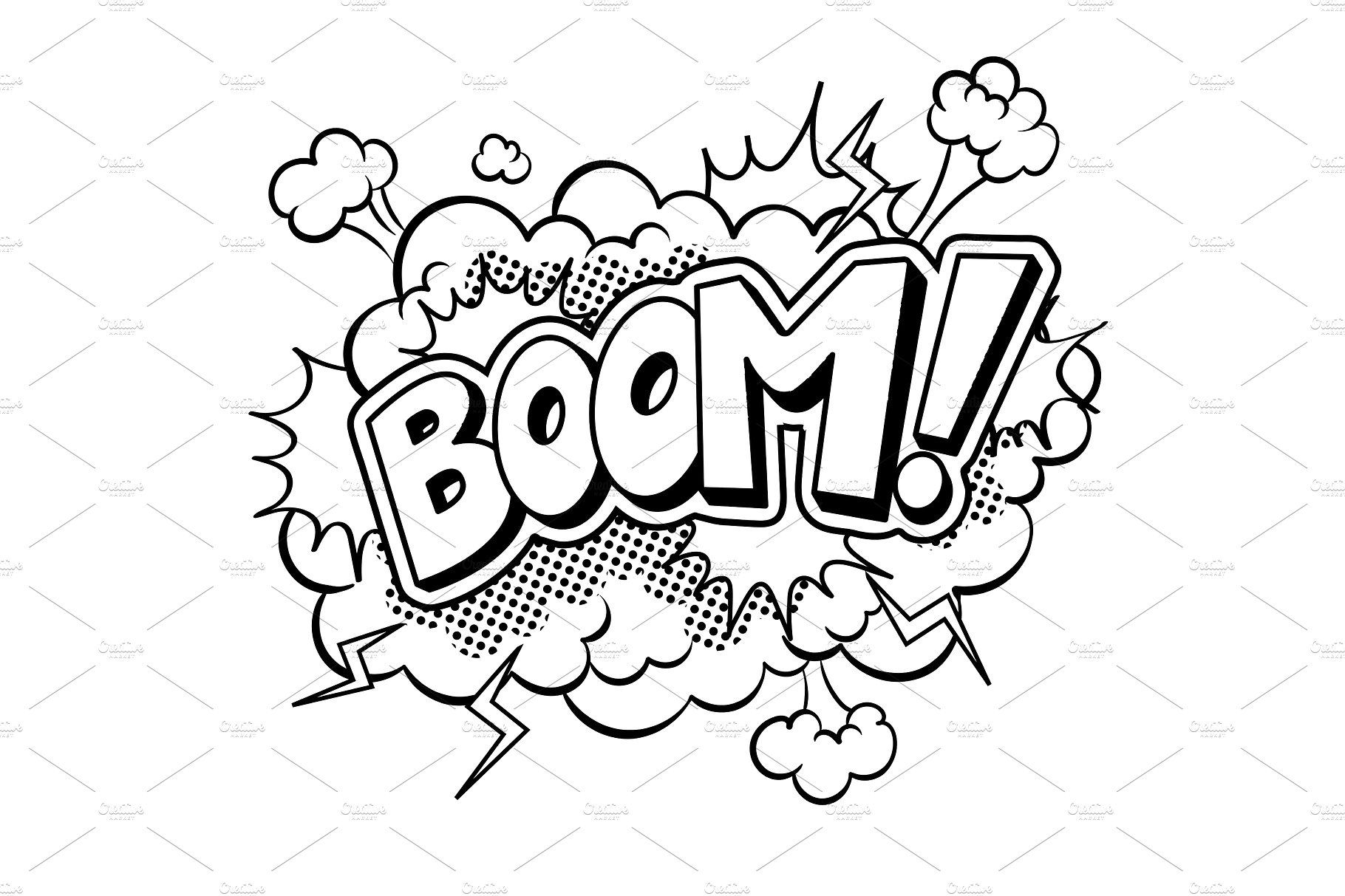Boom word comic book coloring vector illustration by