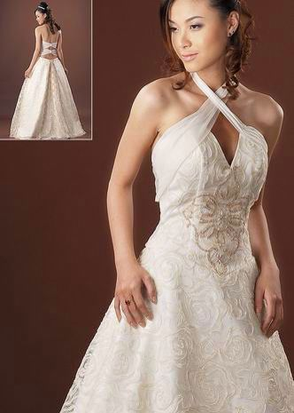 Wedding Dress With Criss Cross Strap Detail In Front Halter
