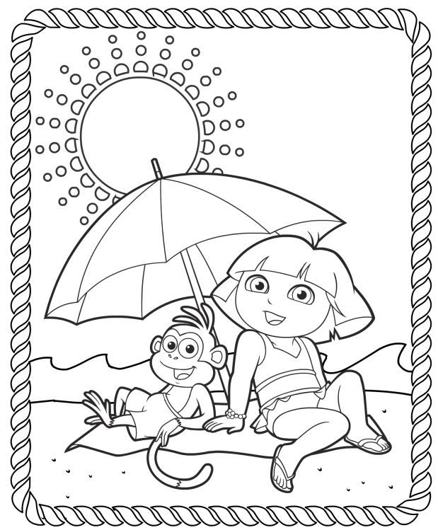 A4 Kleurplaten Dora.Dora The Explorer Printable Coloring Pages Splash Into Summer