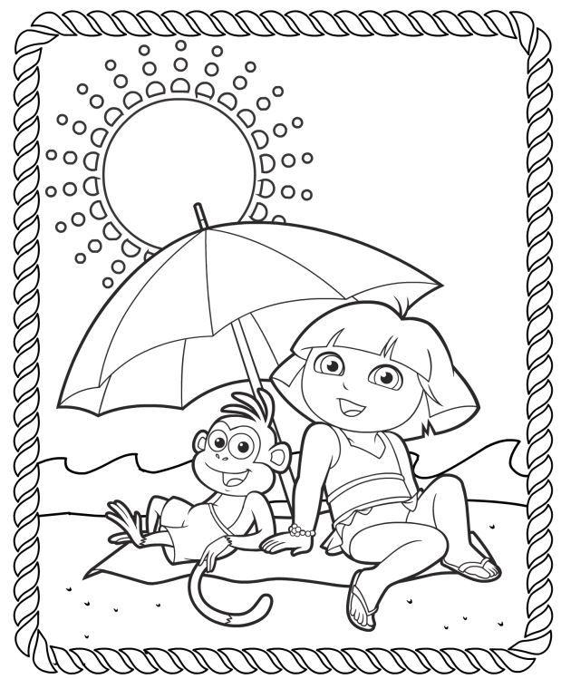 Dora Summer Coloring Pack Summer Coloring Pages Coloring Pages Kids Coloring Books