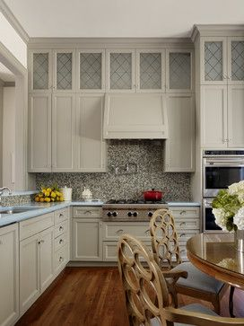 Tailor Made Contemporary Kitchen Cabinets In Bm S Willow Creek Paint Etched Frosted Gla Contemporary Kitchen Kitchen Interior Painted Kitchen Cabinets Colors