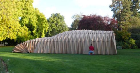 Cambridge, England, a temporary place on the lawn for party. Made of paper. The designers are called Bricolage