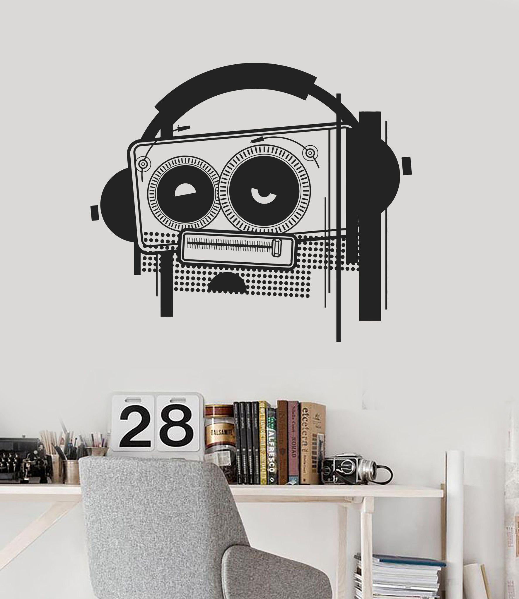 Wall Decal Tape Recorder Music Headphones Cool Room Decor Vinyl - Custom vinyl wall decal equipment
