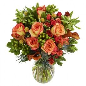 Full of fall flair, our Harvest Blooms bouquet is a stunning bouquet of beautiful fresh cut flowers! Combining roses, mini-callas, spray roses, eryngium, hypericum, pittosporum and craspedia, this bouquet will turn heads and look great at any of your fall events! Send flowers now from The Grower's Box!
