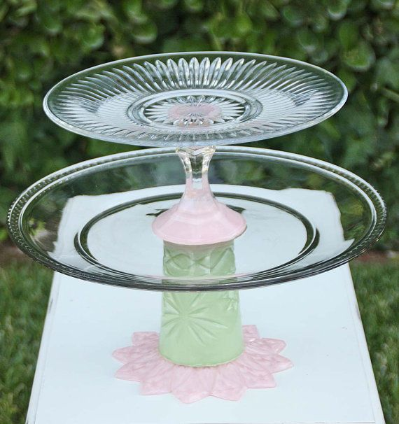 Soft Pearl Pink & Green Two Tier Vintage by RedEggBoutique on Etsy, $65.00