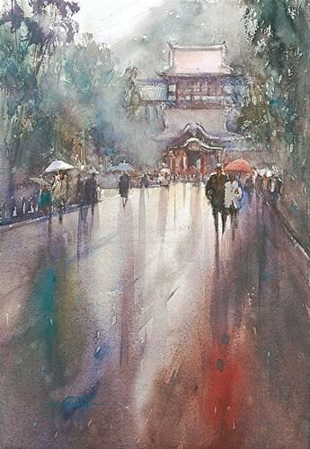 Kamakura I Japanese Landscape Painting Original Fine Art For