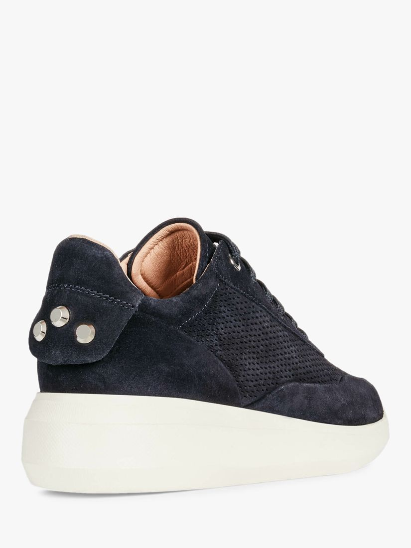Geox Women's Rubidia Perforated Suede Wedge Trainers in 2020