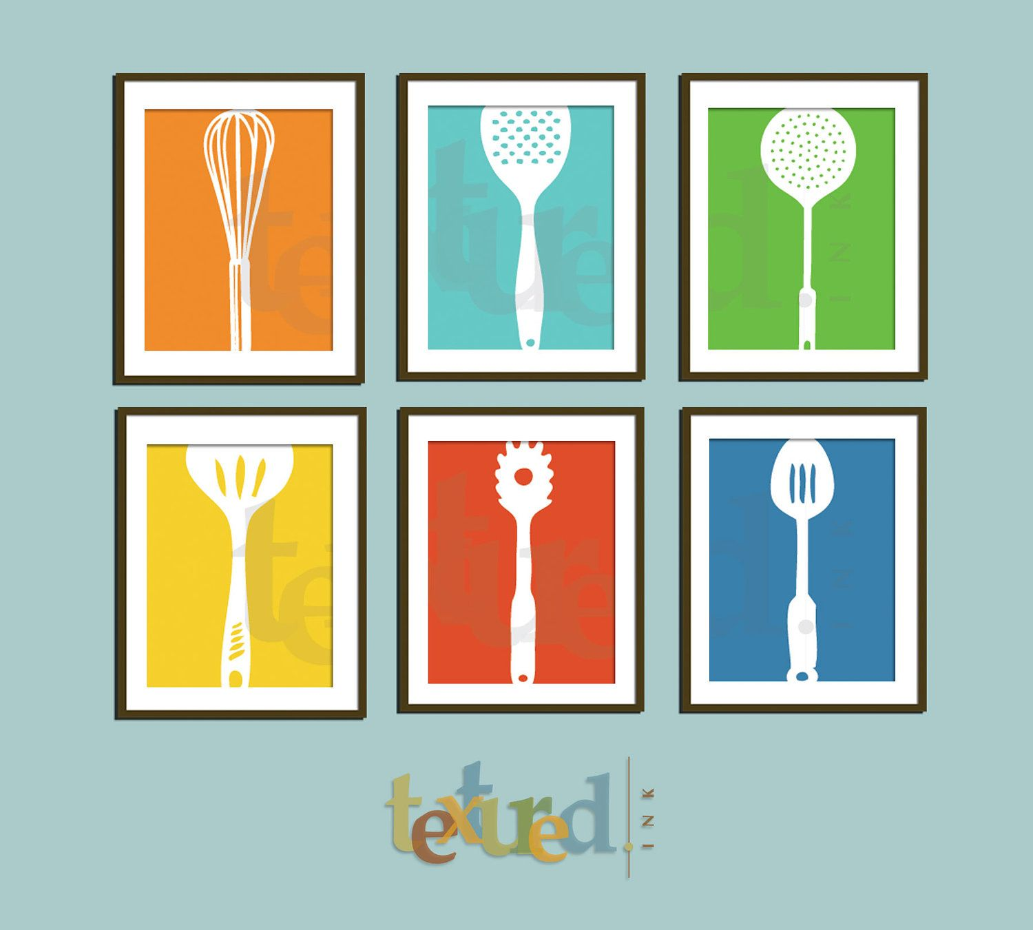 Kitchen Prints, Cooking Time, Set of 6- 8.5X11 Inches, Choose colors ...