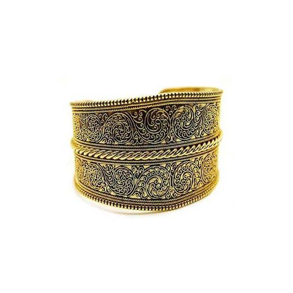 Karla's Gold Floral Design Cuff Bracelet (38 AUD) ❤ liked on Polyvore featuring jewelry, bracelets, cuff bangle, adjustable cuff bracelet, 18 karat gold bangles, 18k gold bangle and 18k bangle