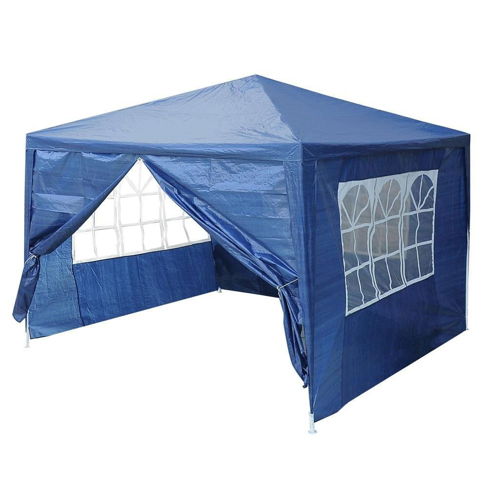 10 X 10 Outdoor Wedding Party Tent 4 Sidewalls Blue Tent Party Tent Backyard Canopy