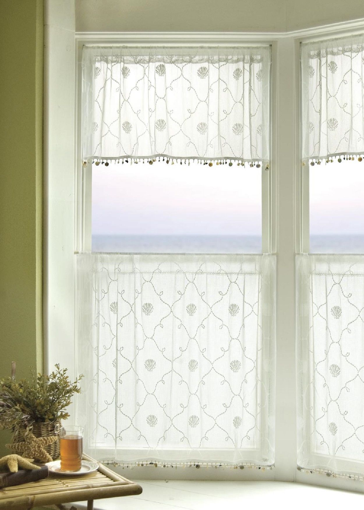 Heritage Lace Beach Trellis Tier With Trim 42x30 White Made In Usa