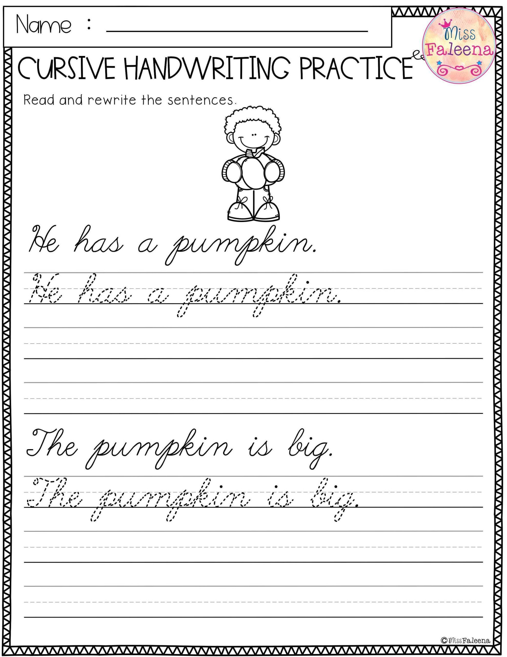 Handwriting Worksheets For Second Grade Free Cursive