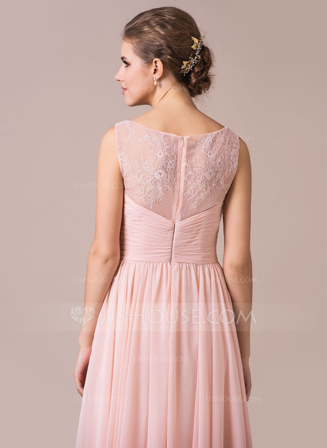 Chiffon Lace A-Line Floor-length Bridesmaid Dress | Lace bridesmaids ...