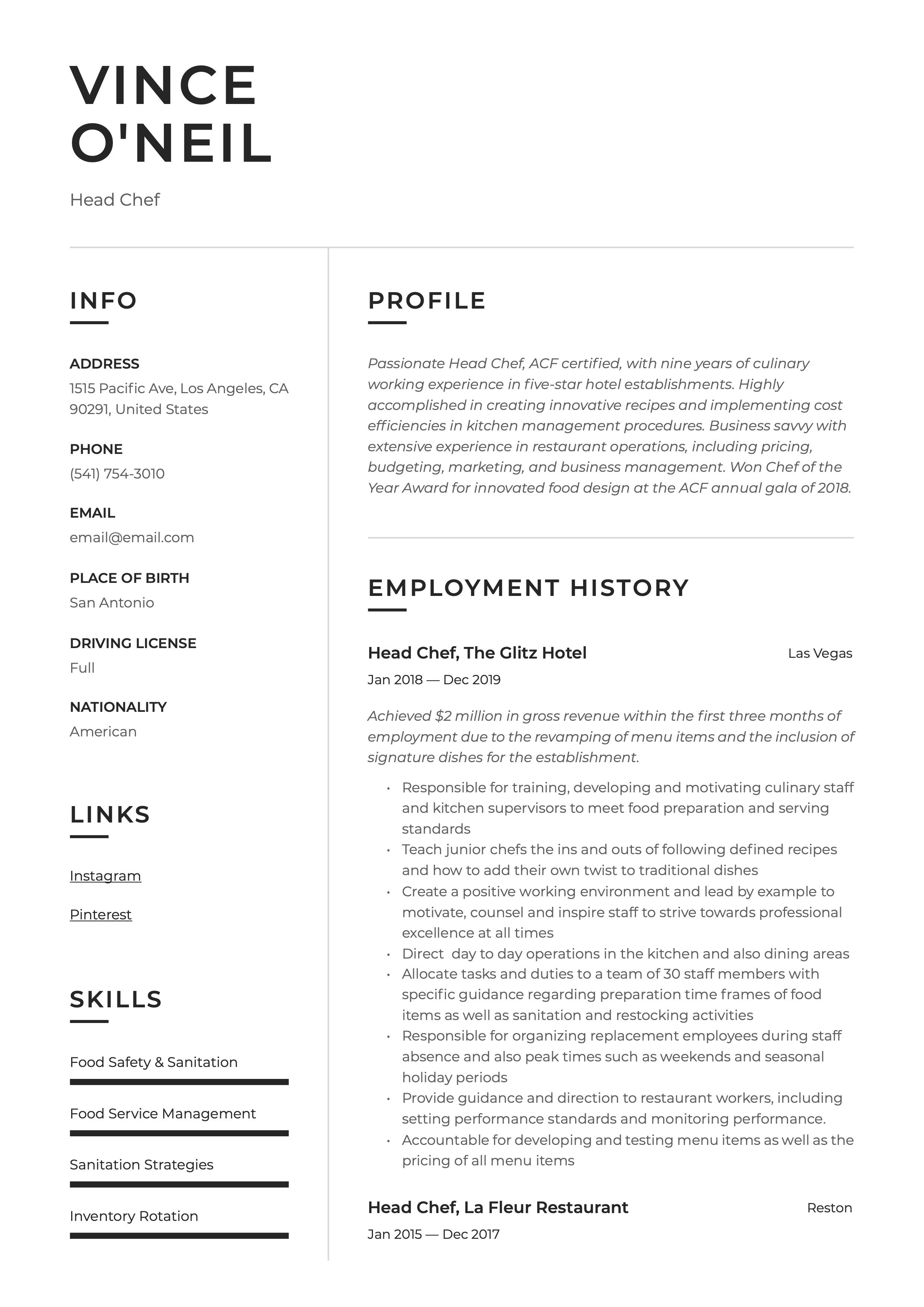 Head chef resume example resume examples resume guide