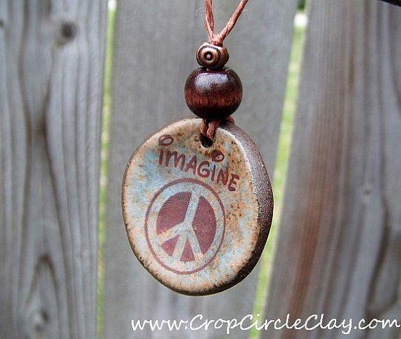Porcelain Pendant Ceramic Pendant Clay Pendant LOVE Pendant Peace Pendant Peace Sign Pendant