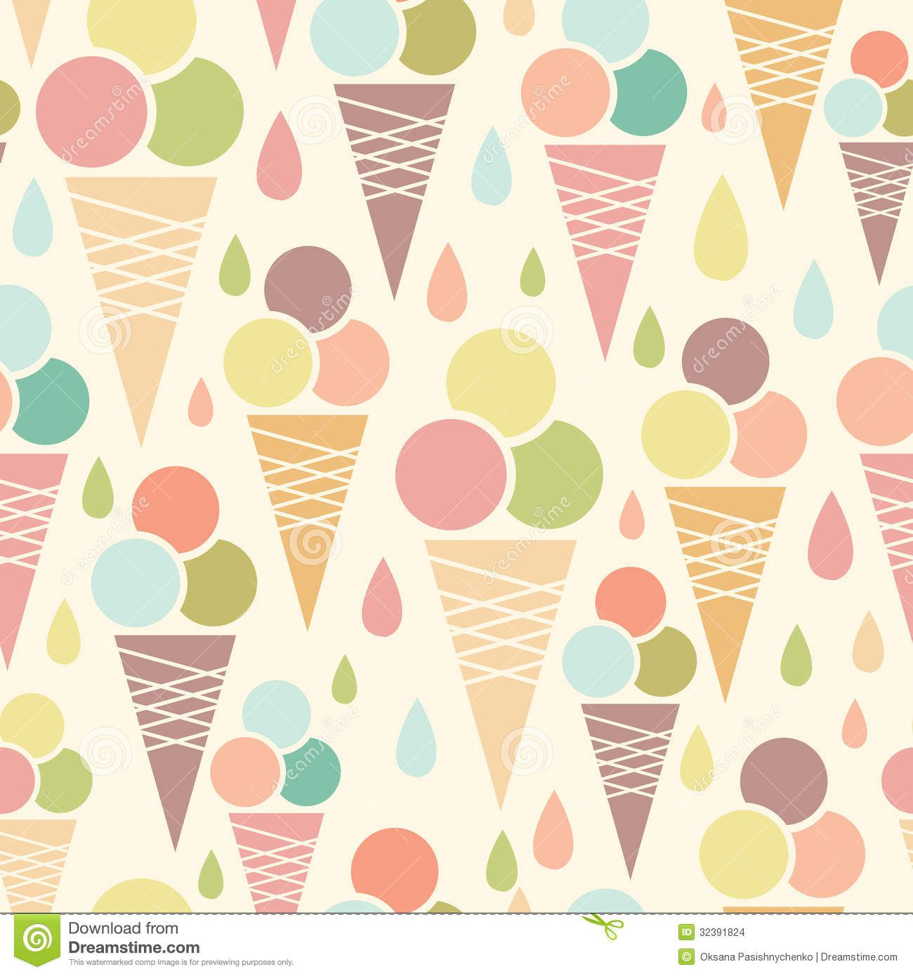 Cute Colorful Ice Cream Seamless Pattern Background: Vector Ice Cream Cones Seamless