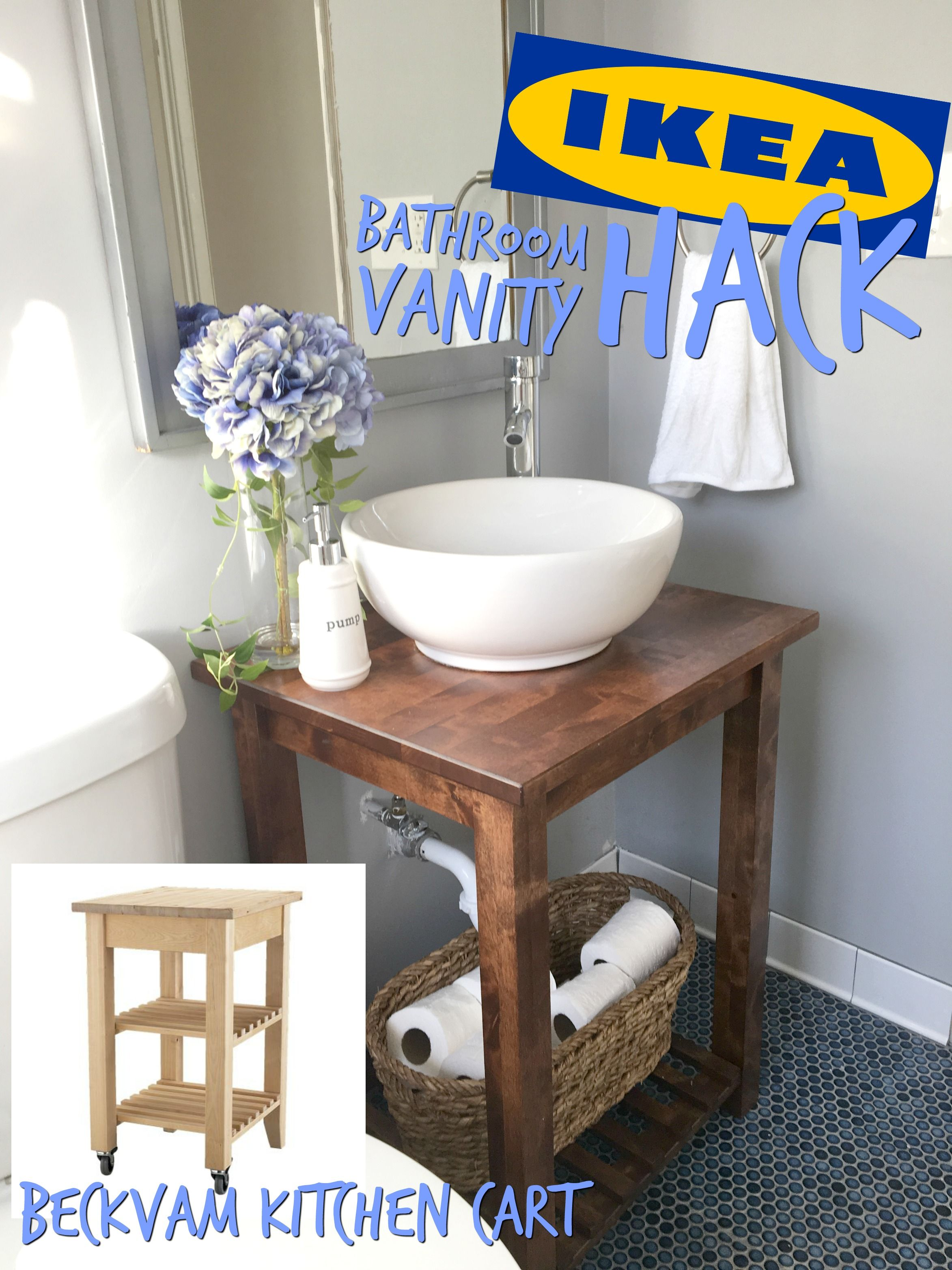 Ikea hack bathroom vanity with bekvam kitchen cart in 2019 - Vanities for small bathrooms ikea ...