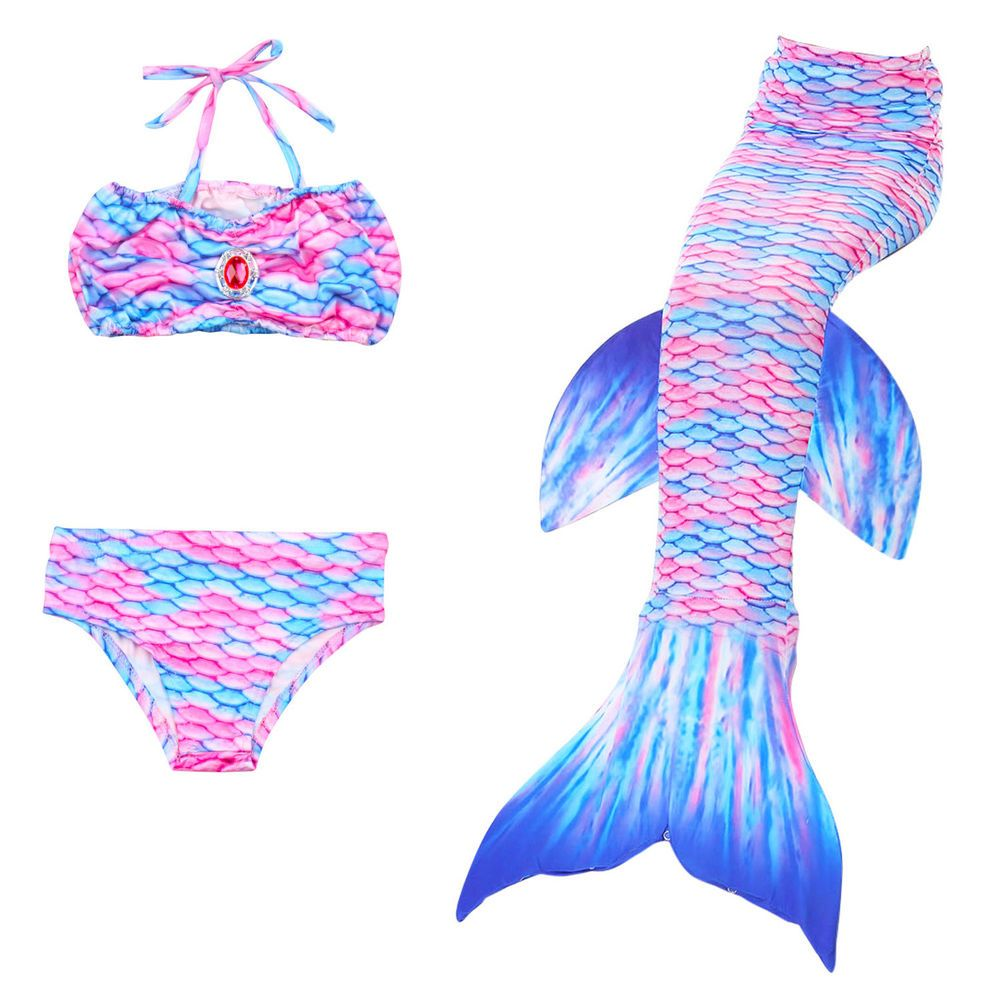 Swimmable Swimwear Swimming 3Pc Pool Party Kids Girls Mermaid Tail Bikini Sets