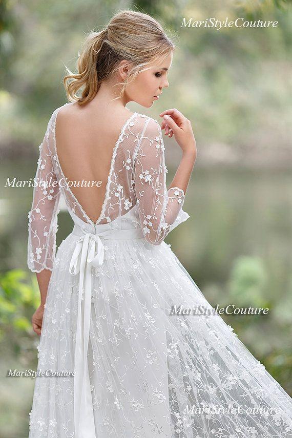 Romantic Boho Wedding dress from Chiffon, Italian Lace ,Open V-back ...