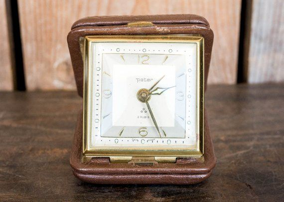 Vintage Peter 2 Rubis Travel Alarm Clock Germany Two Jewel Small