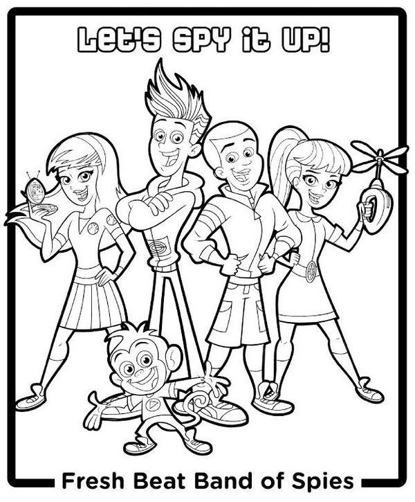 Fresh Beat Band Of Spies Group Coloring Pages Coloring Pages Nick Jr Coloring Pages Whale Coloring Pages