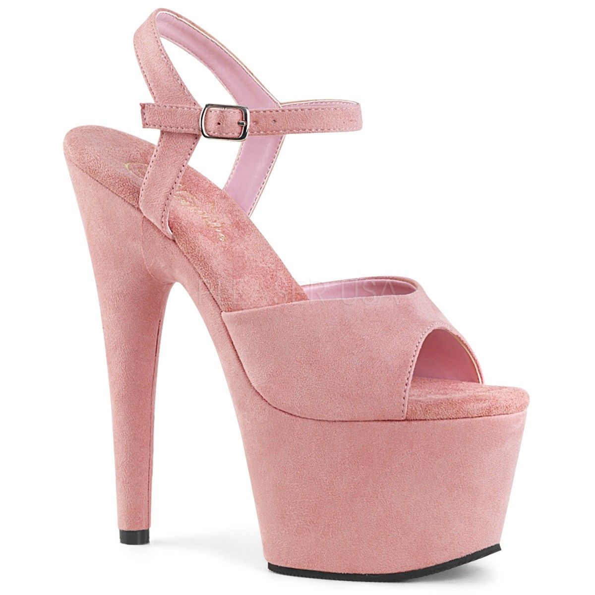 fc2e9697c67a Pleaser Adore 709FS Baby Pink Faux Suede 7 Inch High Heel Sandals with 3