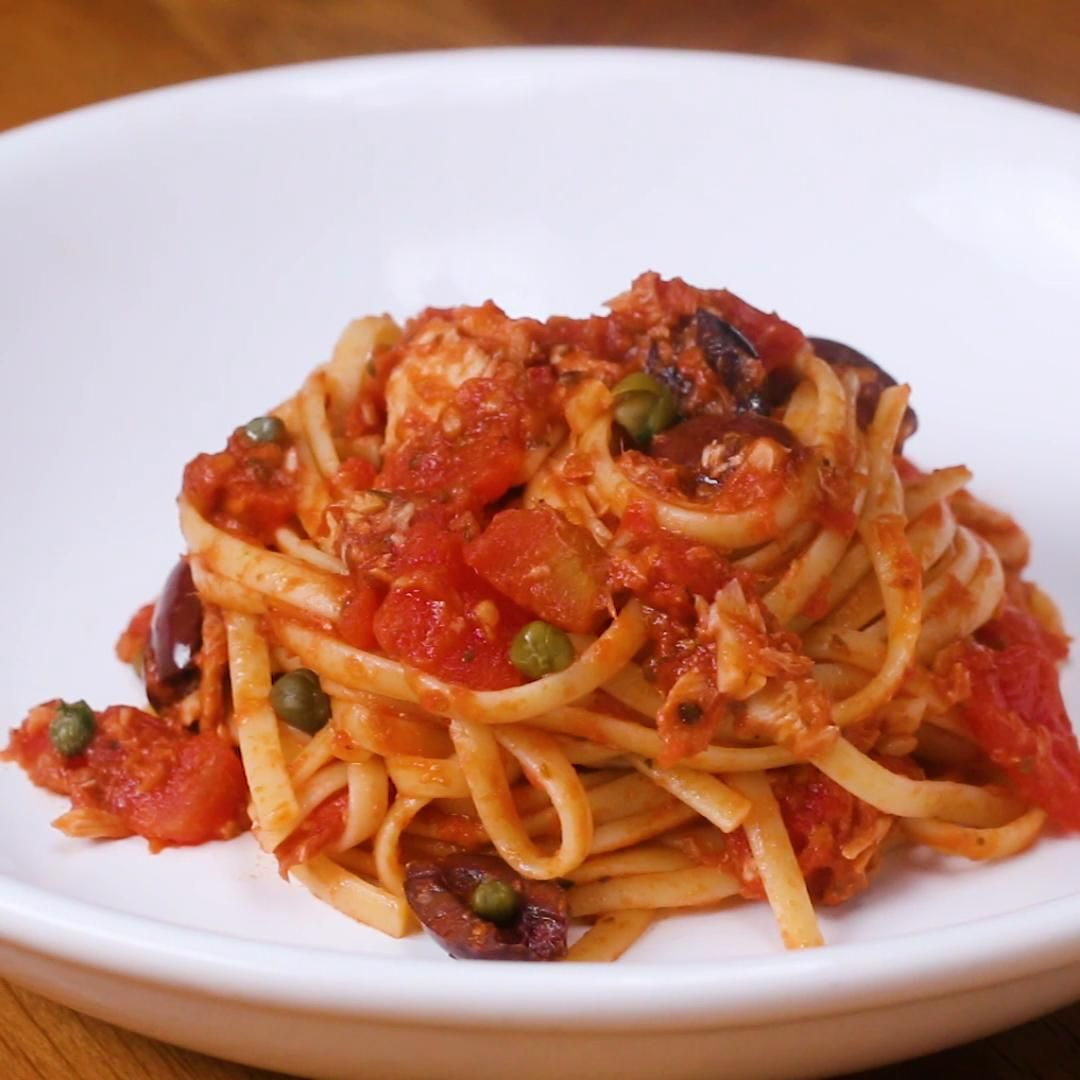 Tuna Linguine With Tomatoes Olives Capers Recipe By Tasty Recipe Capers Recipe Olive Recipes Buttery Noodles