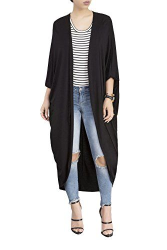 JointlyCreating Women's Long Sleeve Open Front Maxi Cardigan ...