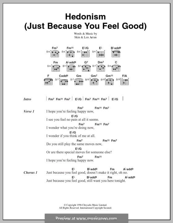 Hedonism (Just Because You Feel Good): Lyrics and chords (Skunk ...