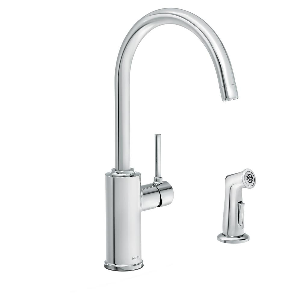 Moen Sombra Single Handle Standard Kitchen Faucet With Side Sprayer In Chrome 87702 The Home Depot Kitchen Faucet Faucet Moen