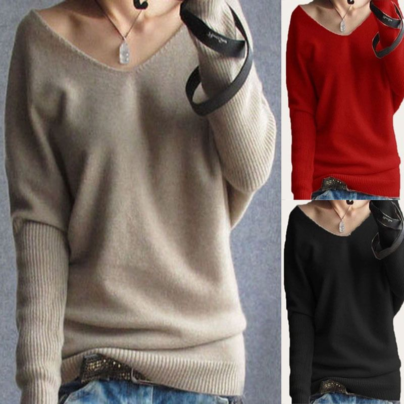 d3288dc216c WOMEN V-NECK LONG SLEEVE WINTER SMART JUMPER PULLOVER TOP SWEATER PLUS SIZE