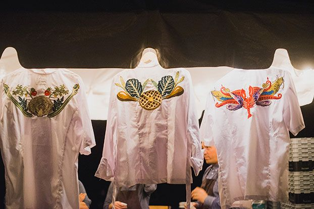 Custom chef coats embroidered by Fort Lonesome for Mike Lata, Ashley Christensen, and John Fleer at the Field Feast.