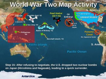 WWII) World War Two Map Activity; PACIFIC THEATER Fun, Interactive ...