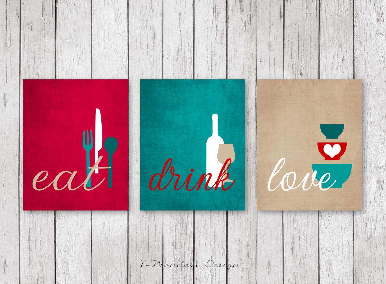 Kitchen wall art print set eat drink love red teal tan white