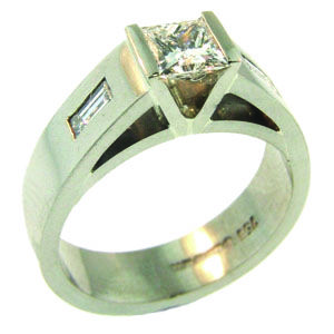 18ct White Gold Princess & Baguette Cut Diamond Ring made at Cameron Jewellery