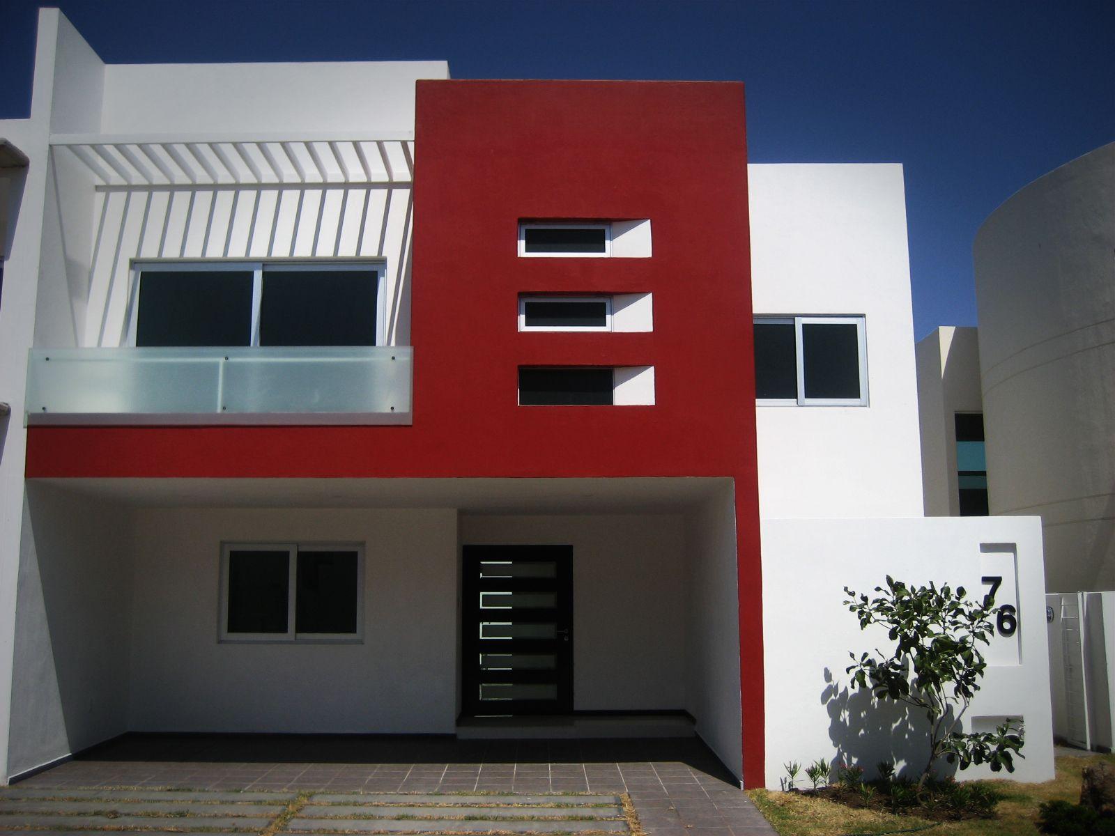 Blanco Rojo Exteriores De Casas Fachadas De Casas Modernas Exteriores De Casas Modernas