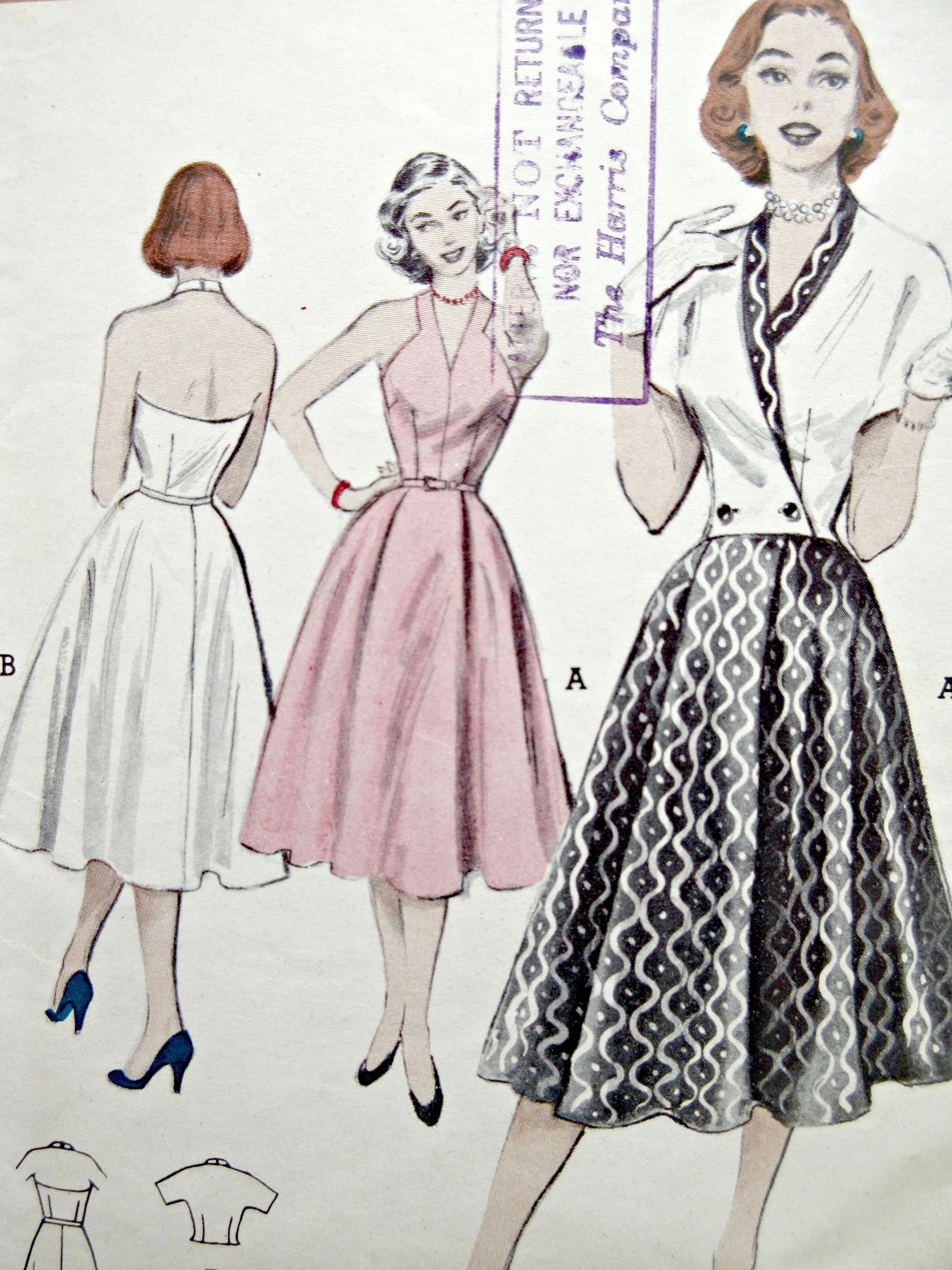 Vintage Butterick 6090 Sewing Pattern, 1950s Dress Pattern, Halter ...